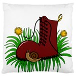 Boot in the grass Large Flano Cushion Case (One Side)