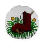 Boot in the grass Standard 15  Premium Flano Round Cushions