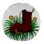 Boot in the grass Large 18  Premium Flano Round Cushions