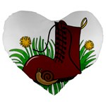 Boot in the grass Large 19  Premium Flano Heart Shape Cushions