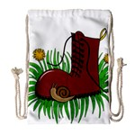 Boot in the grass Drawstring Bag (Large)