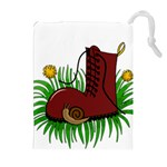 Boot in the grass Drawstring Pouches (Extra Large)