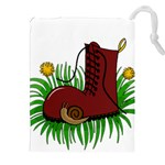 Boot in the grass Drawstring Pouches (XXL)