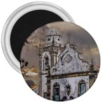 Exterior Facade Antique Colonial Church Olinda Brazil 3  Magnets