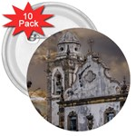 Exterior Facade Antique Colonial Church Olinda Brazil 3  Buttons (10 pack)