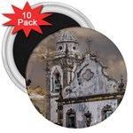 Exterior Facade Antique Colonial Church Olinda Brazil 3  Magnets (10 pack)