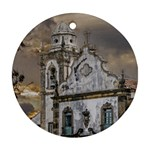 Exterior Facade Antique Colonial Church Olinda Brazil Round Ornament (Two Sides)