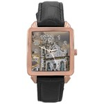 Exterior Facade Antique Colonial Church Olinda Brazil Rose Gold Leather Watch