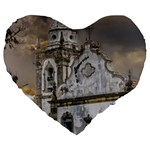 Exterior Facade Antique Colonial Church Olinda Brazil Large 19  Premium Flano Heart Shape Cushions