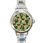 Cactuses Round Italian Charm Watch