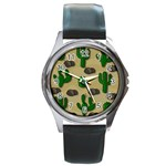 Cactuses Round Metal Watch