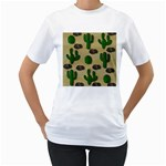 Cactuses Women s T-Shirt (White) (Two Sided)