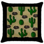 Cactuses Throw Pillow Case (Black)