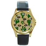 Cactuses Round Gold Metal Watch