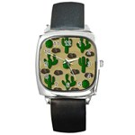 Cactuses Square Metal Watch