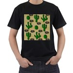 Cactuses Men s T-Shirt (Black) (Two Sided)