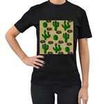 Cactuses Women s T-Shirt (Black) (Two Sided)