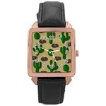 Cactuses Rose Gold Leather Watch