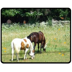 Horses, rabbit, squirrel, and sleeping kitty Fleece Blanket (Medium) from ArtsNow.com 60 x50  Blanket Front