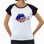 USA Lips 4july Women s Cap Sleeve T-Shirt (White)