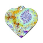 Golden Violet Sea Shells, Abstract Ocean Dog Tag Heart (One Side)