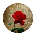 Red Rose Art Ornament (Round)