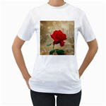Red Rose Art Women s T-Shirt (White) (Two Sided)