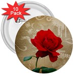 Red Rose Art 3  Button (10 pack)