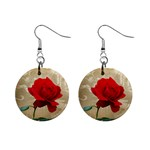 Red Rose Art 1  Button Earrings