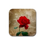 Red Rose Art Rubber Square Coaster (4 pack)