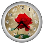 Red Rose Art Wall Clock (Silver)
