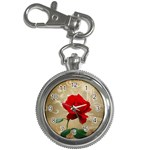 Red Rose Art Key Chain Watch