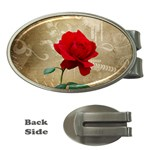 Red Rose Art Money Clip (Oval)