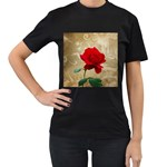 Red Rose Art Women s T-Shirt (Black) (Two Sided)