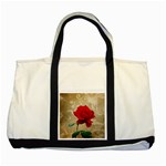 Red Rose Art Two Tone Tote Bag