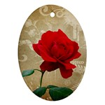 Red Rose Art Oval Ornament (Two Sides)