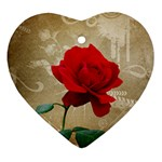 Red Rose Art Heart Ornament (Two Sides)