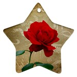 Red Rose Art Star Ornament (Two Sides)