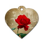Red Rose Art Dog Tag Heart (One Side)