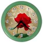 Red Rose Art Color Wall Clock