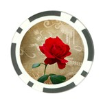 Red Rose Art Poker Chip Card Guard
