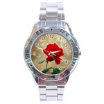 Red Rose Art Stainless Steel Analogue Watch