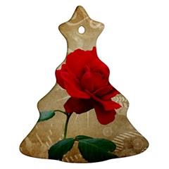 Red Rose Art Christmas Tree Ornament (Two Sides) from ArtsNow.com Front
