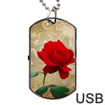 Red Rose Art Dog Tag USB Flash (One Side)