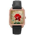 Red Rose Art Rose Gold Leather Watch