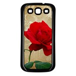 Red Rose Art Samsung Galaxy S3 Back Case (Black)