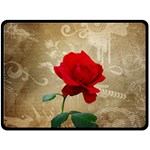 Red Rose Art Double Sided Fleece Blanket (Large)