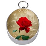 Red Rose Art Silver Compass