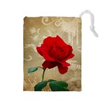 Red Rose Art Drawstring Pouch (Large)