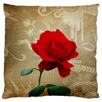 Red Rose Art Large Flano Cushion Case (One Side)